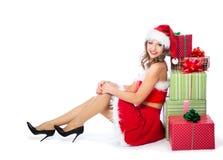 Mujer joven en un traje de la Navidad Foto de archivo