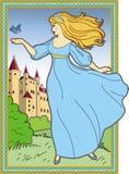 Mujer joven en un vestido azul en el fondo de un molde medieval Foto de archivo libre de regalías
