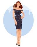 Mujer joven con el vestido y los talones ilustración del vector
