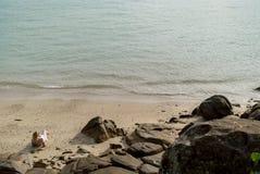 Mujer joven en una playa en vestido de la playa Fotos de archivo