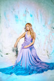 Mujer joven en vestido de la princesa en un fondo de una hada del invierno Imagen de archivo
