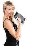 Mujer joven encantadora con el suposición-bolso Foto de archivo