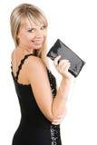 Mujer joven encantadora con el suposición-bolso Imagen de archivo