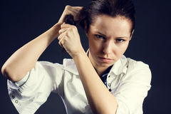 Mujer joven enojada Fotos de archivo