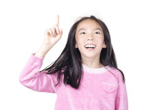 Mujer joven feliz con buena idea Foto de archivo