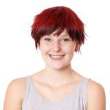 Mujer joven feliz con el pelo corto Imágenes de archivo libres de regalías