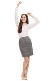 Mujer joven feliz con los brazos aumentados Fotografía de archivo libre de regalías