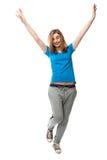 Mujer joven feliz de baile imagenes de archivo