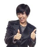 Mujer joven feliz de la raza mixta con los pulgares para arriba en blanco Fotos de archivo