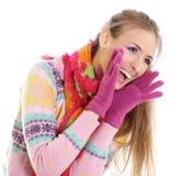 Mujer joven feliz del invierno Foto de archivo libre de regalías