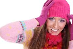 Mujer joven feliz del invierno Imágenes de archivo libres de regalías
