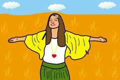 Mujer joven feliz en el campo de trigo ilustración del vector