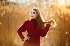 Mujer joven feliz libre Hembra hermosa con el pelo que sopla sano largo que disfruta de la luz del sol en parque en la puesta del Fotografía de archivo libre de regalías
