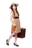 Mujer joven feliz lista para ir el vacaciones Imagen de archivo