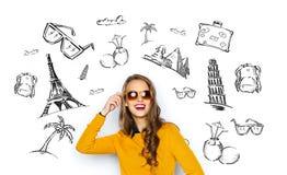 Mujer joven feliz o muchacha adolescente en ropa casual ilustración del vector