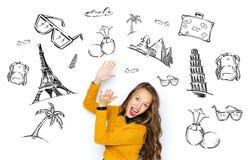 Mujer joven feliz o muchacha adolescente que aplaude ilustración del vector