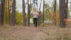 Mujer joven feliz que activa en el bosque y el vídeo que tira en el palillo del selfie almacen de metraje de vídeo