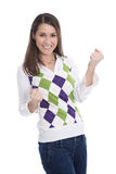 Mujer joven feliz que celebra con sus manos aisladas en blanco Imágenes de archivo libres de regalías