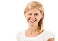 Mujer joven feliz que sonríe sobre blanco Fotografía de archivo