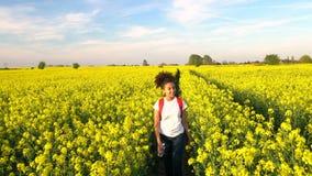 Mujer joven femenina del adolescente afroamericano de la muchacha que camina con la mochila y la botella rojas de agua en campo d almacen de video