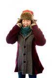 Mujer joven frustrada en ropa caliente Imagen de archivo