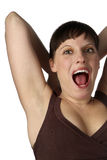 Mujer joven gritadora Imágenes de archivo libres de regalías