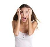 Mujer joven gritadora Imagen de archivo libre de regalías