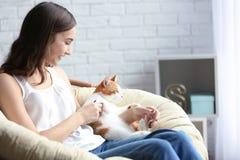 Mujer joven hermosa con el gato lindo en butaca Imagenes de archivo