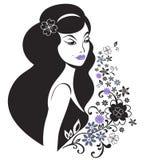Mujer joven hermosa con el modelo de flor Imágenes de archivo libres de regalías