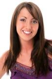 Mujer joven hermosa con el pelo de Brown y los ojos pardos Imagen de archivo