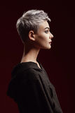 Mujer joven hermosa con el pelo gris corto Fotografía de archivo libre de regalías