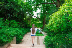 Mujer joven hermosa con el pelo largo en un jardín del verano imagen de archivo