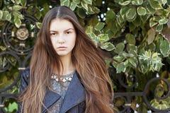 Mujer joven hermosa con el pelo oscuro largo Retrato del primer de y Fotos de archivo