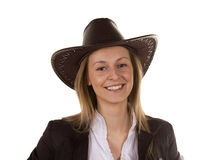 Mujer joven hermosa con el sombrero imagen de archivo libre de regalías