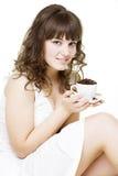 Mujer joven hermosa con la taza Imagen de archivo