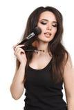 Mujer joven hermosa con las borlas, cuidado de piel Fotografía de archivo