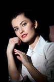 Mujer joven hermosa con maquillaje perfecto Foto de archivo