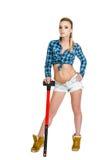Mujer joven hermosa con un martillo Fotos de archivo