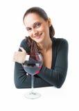 Mujer joven hermosa con un vidrio de vino Fotografía de archivo