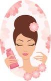 Mujer joven hermosa con una crema de cara stock de ilustración