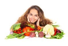Mujer con las verduras fotos de archivo