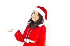 Mujer joven hermosa de Papá Noel, foto de archivo