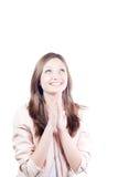Mujer joven hermosa de rogación y sonriente aislada Imagenes de archivo
