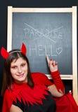 Mujer joven hermosa del diablo Foto de archivo