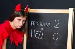 Mujer joven hermosa del diablo Imagen de archivo libre de regalías