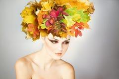 Mujer joven hermosa del maquillaje profesional en otoño imagen de archivo libre de regalías