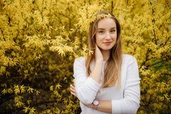 Mujer joven hermosa en árbol amarillo floreciente Fotografía de archivo