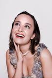 Mujer joven hermosa en alineada de la vendimia Imagen de archivo libre de regalías