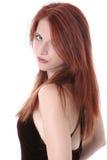 Mujer joven hermosa en alineada del terciopelo Imagen de archivo libre de regalías