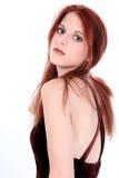 Mujer joven hermosa en alineada del terciopelo Fotografía de archivo libre de regalías